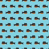 Seamless little cute whale kids fabric background pattern in vector