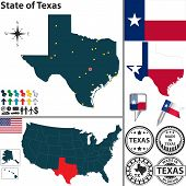 pic of texas state flag  - Vector set of Texas state with flag coat of arms and icons on white background - JPG