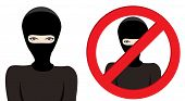 foto of derringer  - Man in a black mask thief terrorist or special force soldier on white background - JPG