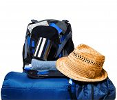 pic of blue things  - Things for tourism near the backpack on a white background - JPG