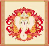 stock photo of ganpati  - Creative illustration of Hindu Lord Ganesha  - JPG