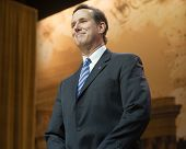 NATIONAL HARBOR, MD - MARCH 7, 2014: Former U.S. Senator Rick Santorum speaks at the Conservative Po