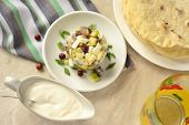 foto of pita  - Herring tartare with sour cream and pita bread - JPG