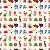 image of dragon-fish  - Colored seamless animal pattern