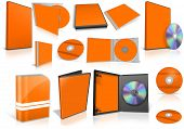 Orange Multimedia Disks And Boxes On White