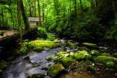 stock photo of smoky mountain  - Flume and mill along a creek in Great Smoky Mountains National Park Tennessee - JPG