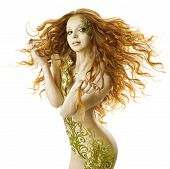 pic of nake  - sexy woman fantasy hairstyle sensual fashion tattoo makeup naked beauty girl with long hairs and floral body art - JPG