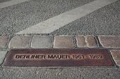 Plaque Marking The Former Location Of The Berlin Wall