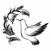foto of colibri  - vector artistic decorative silhouette in grunge style - JPG