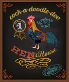 Chalkboard Poster for Chicken Restaurant - Colorful blackboard advertisement for restaurant with roo