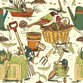 pic of hoe  - Hand drawn seamless gardening tools pattern background vector illustration - JPG