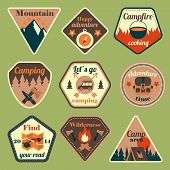 pic of tent  - Outdoors tourism camping flat badges set of compass campfire tent and backpack isolated vector illustration - JPG