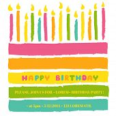 stock photo of birthday  - Happy Birthday and Party Invitation Card  - JPG