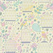 Gentle seamless pattern with cages and birds in pastel colors. Cute summer texture with elegant bird