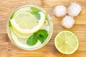 A picture of a glass of water with lemon lime and mint served with ice cubes on a wooden board