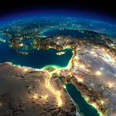 stock photo of iraq  - Highly detailed Earth illuminated by moonlight - JPG
