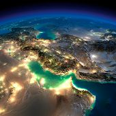 stock photo of oman  - Highly detailed Earth illuminated by moonlight - JPG
