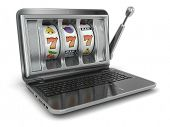 Online gambling concept. Laptop slot machine. 3d