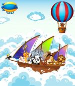 image of ant-eater  - Illustration of many animals on a boat - JPG