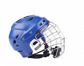pic of headgear  - Blue hockey goalie mask - JPG