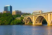 picture of rosslyn  - The Key Bridge photographed from Georgetown Park with office buildings on Virginia side of Potomac River - JPG