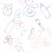 pic of nipple  - seamless pattern with baby items - JPG