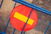 stock photo of no entry  - Round red sign No Entry on blue road barrier - JPG