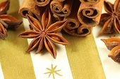 stock photo of ouzo  - Anise stars and cinnamon - Christmas spices and decoration ** Note: Slight graininess, best at smaller sizes - JPG