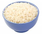 picture of boil  - Boiled long grain rice in lilac bowl close - JPG