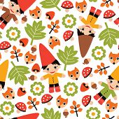 stock photo of gnome  - Seamless colorful kids fall gnome forest woodland illustration background pattern in vector - JPG