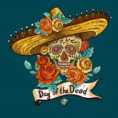 stock photo of day dead skull  - Floral Background with Skull in Sombrero Day of The Dead illustration - JPG