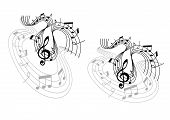 foto of clefs  - Abstract musical waves melody compositions with treble clef - JPG