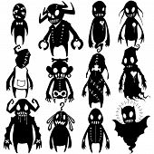 stock photo of halloween characters  - All of white objects on monsters body can ungroup  and change color as you want - JPG