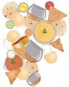 pic of samosa  - an illustration of indian street food including samosas idly chapati - JPG