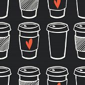stock photo of morning  - Seamless pattern with hand drawn doodle cups of coffee to go on chalkboard background - JPG