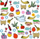 stock photo of sukkot  - Vector illustration pack of jewish holidy symbols for rosh hashanah - JPG
