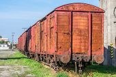 picture of boxcar  - Freight wagons stationing in the train station in the afternoon  - JPG