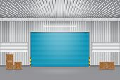 picture of roller shutter door  - Illustration of shutter door outside factory blue color - JPG