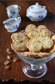 picture of french pastry  - French puff pastry and tea-service on a wooden surface