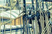 picture of sailing vessel  - Blocks and tackles of a sailing vessel - JPG