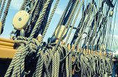 pic of sailing vessel  - Blocks and tackles of a sailing vessel - JPG
