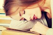 pic of sleeping beauty  - Beautiful woman is sleeping on a book - JPG