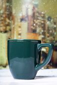 foto of rainy day  - Coffee cup on a rainy day on window background - JPG