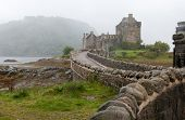 pic of castle  - Famous Eilean Donan Castle at loch Alsh lake in the Highlands of Scotland - JPG