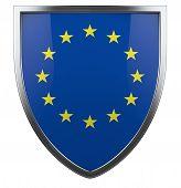image of union  - European Union flag shield symbol isolated on white - JPG