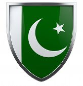 stock photo of pakistani flag  - Pakistani flag national identity isolated shield icon - JPG