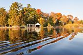 picture of october  - Fall colors reflecting in the lake water - JPG