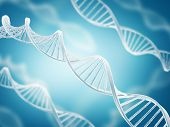 picture of gene  - Deoxyribonucleic acid structure on blue background  - JPG