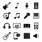 picture of musical symbol  - Set of simple black flat icons related to music - JPG