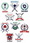 Постер, плакат: Baseball heraldic emblems or badges with equipments